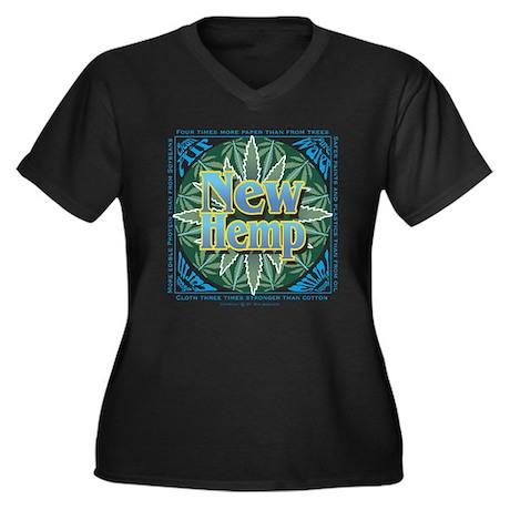 New Hemp Women's Plus Size V-Neck Dark T-Shirt