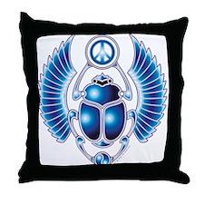 Blue Scarab Throw Pillow