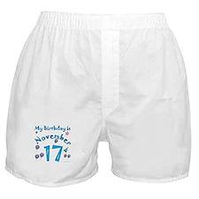 November 17th Birthday Boxer Shorts