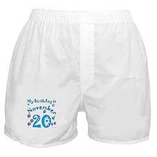 November 20th Birthday Boxer Shorts