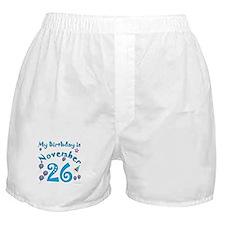 November 26th Birthday Boxer Shorts