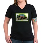 National Birds on Thanksgivin Women's V-Neck Dark
