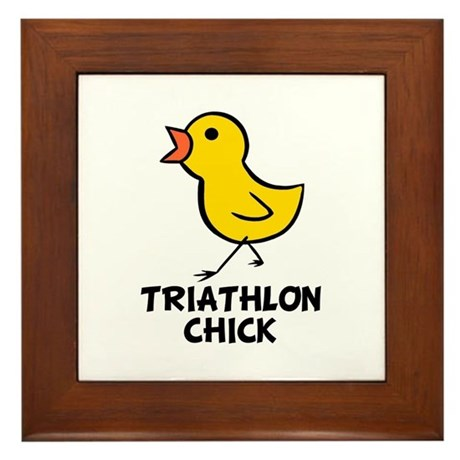 Triathlon Chick Framed Tile
