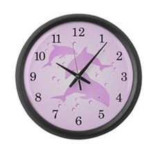 Pink Dolphins Large Wall Clock