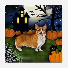 WELSH CORGI DOG HALLOWEEN NIGHT Tile Coaster