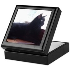 Black Cat In Window Keepsake Box