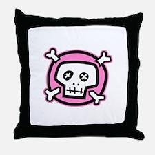pink dead skull Throw Pillow
