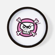 pink dead skull Wall Clock