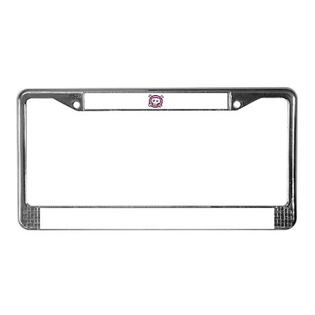 pink dead skull License Plate Frame