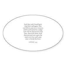GENESIS 19:9 Oval Decal