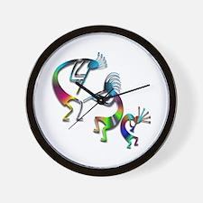 Three Colorful Kokopellis Wall Clock
