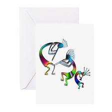 Three Colorful Kokopellis Greeting Cards (Pk of 20