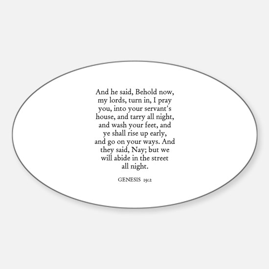 GENESIS 19:2 Oval Decal