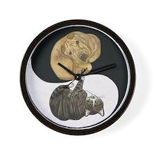 Tabby & Shar Pei Yin Yang Wall Clock