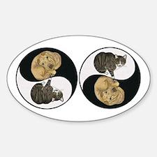 Tabby & Shar Pei Yin Yang Oval Sticker (10 pk)