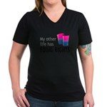 My Other Life Bi Women's V-Neck Dark T-Shirt