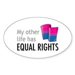 My Other Life Bi Oval Sticker (10 pk)