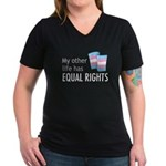 My Other Life Trans Women's V-Neck Dark T-Shirt