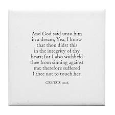 GENESIS  20:6 Tile Coaster