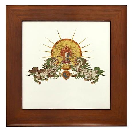 Tibetan Snow Lion Framed Tile