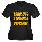 Drink Like a Champion Women's Plus Size V-Neck Dar