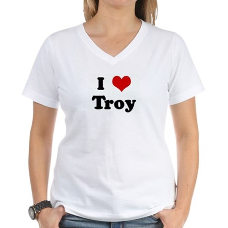 I Love Troy Women's V-Neck T-Shirt