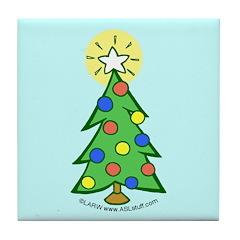 Christmas Tree Blue Tile Coaster