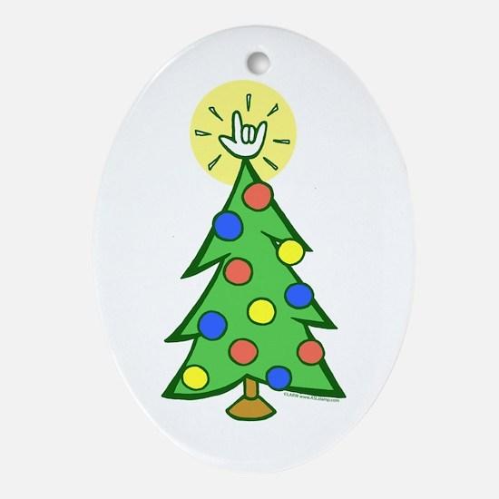 ILY Christmas Tree Oval Ornament