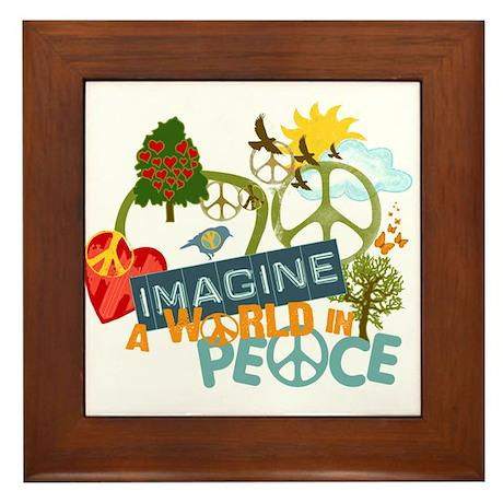 Imagine World Peace Framed Tile