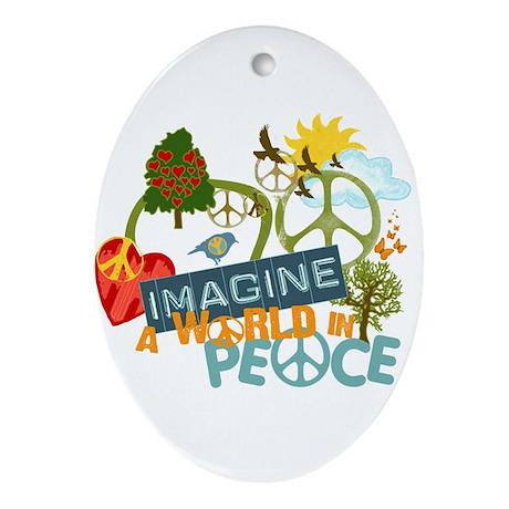 Imagine World Peace Oval Ornament