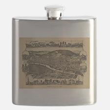 Vintage Map of Corning New York (1882) Flask