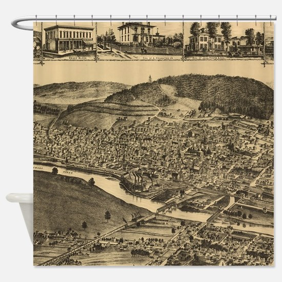Vintage Map of Corning New York (18 Shower Curtain