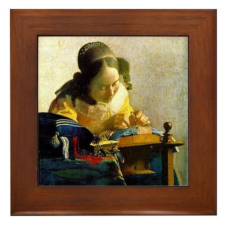Vermeer Lacemaker Framed Tile