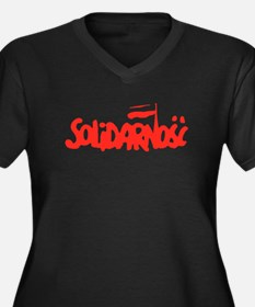 Solidarnosc Women's Plus Size V-Neck Dark T-Shirt