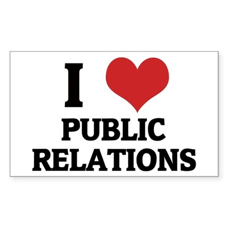 I Love Public Relations Rectangle Sticker