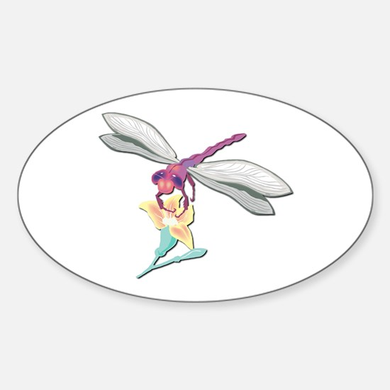 Dragonfly With Flower Oval Decal
