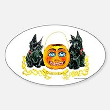 Scottish Terrier Halloween Pumpkin Sticker (Oval)