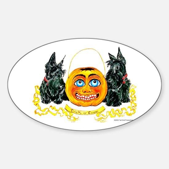 Scottish Terrier Halloween Pumpkin Sticker (Oval)