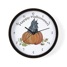 Scottish Terrier Halloween Pumpkin Wall Clock