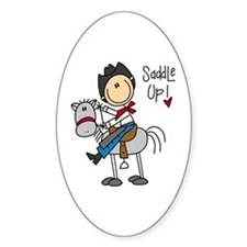 Cowboy Saddle Up Oval Decal