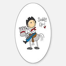 Cowboy Saddle Up Oval Decal