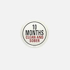 10 Months Clean & Sober Mini Button
