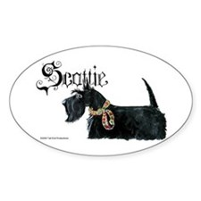 Scottish Terrier Gothic Oval Decal