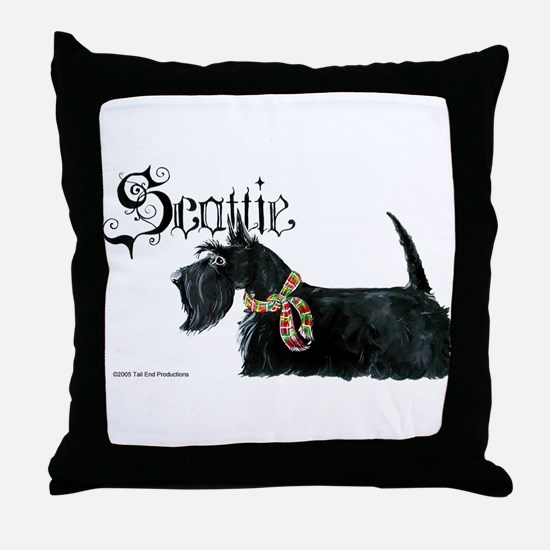Scottish Terrier Gothic Throw Pillow