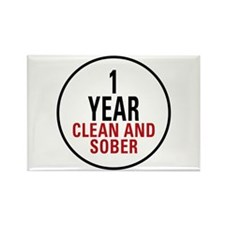 1 Year Clean & Sober Rectangle Magnet