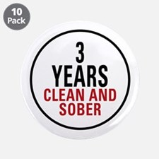 "3 Years Clean & Sober 3.5"" Button (10 pack)"
