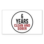 6 Years Clean & Sober Rectangle Sticker 10 pk)