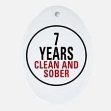 7 Years Clean & Sober Oval Ornament