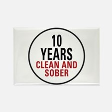 10 Years Clean & Sober Rectangle Magnet