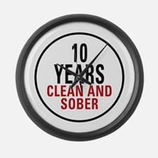 10 Years Clean & Sober Large Wall Clock